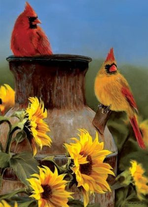 Cardinal Sunflowers Flag | Fall Flags | Bird Flags | Floral Flags | Flags
