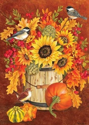 Chickadee Sunflowers Flag | Fall Flags | Bird Flags | Floral Flags | Flags