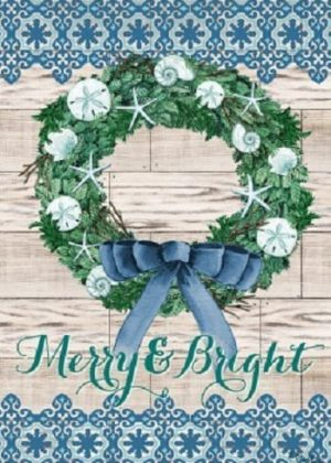 Merry & Bright Wreath Flag | Christmas Flags | Two-sided Flags | Cool Flag