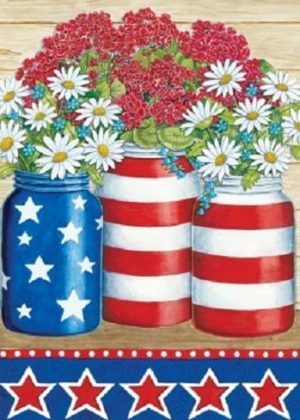 Geraniums & Daisies Flag | 4th of July Flags | Patriotic Flag | Summer Flag