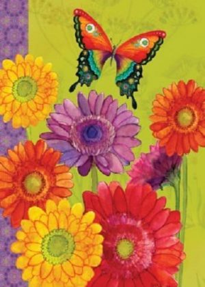 Gerbera Butterfly Flag | Summer Flags | Floral Flags | Spring Flags | Flags