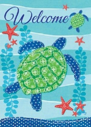 Sea Turtle Welcome Flag | Decorative Flags | Flags | Garden House Flags