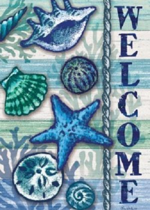 Welcome Shells Flag | Welcome Flag | Beach Flag | Double Sided Flags