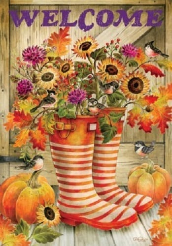 Welcome Fall Boots Flag