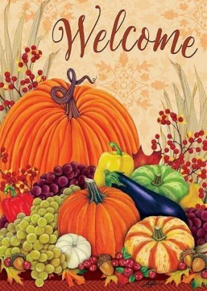Welcome Pumpkins and Gourds Flag | House Flags | Garden House Flags