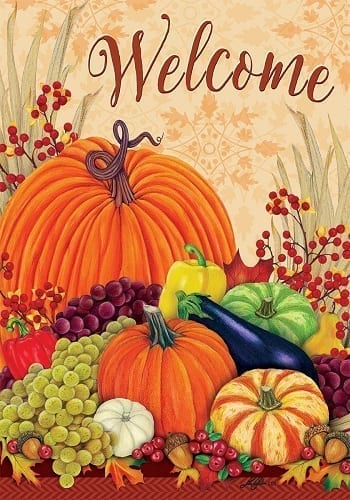 Welcome Pumpkins and Gourds Flag