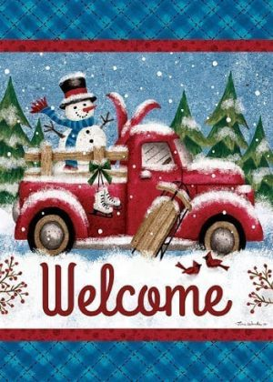 Winter Truck Flag | Winter Flags | Welcome Flags | Snowman Flags | Flags