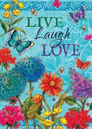 Floral Live, Laugh, Love Flag | Inspirational Flags | Double Sided Flags