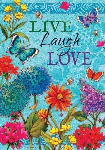 Floral Live, Laugh, Love Flag