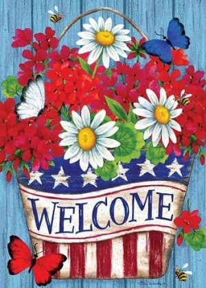 Patriotic Flowers Flag | 4th of July Flags | Patriotic Flags | Welcome Flags