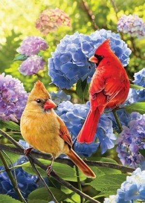 Cardinals in Hydrangeas Flag | Decorative Flags | Garden House Flags