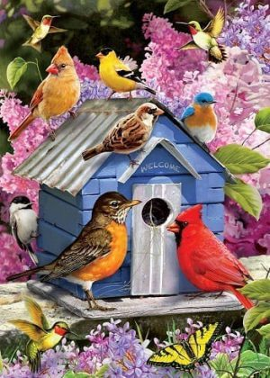 Songbird Birdhouse Flag | Spring Flags | Bird Flag | Floral Flag | Cool Flag