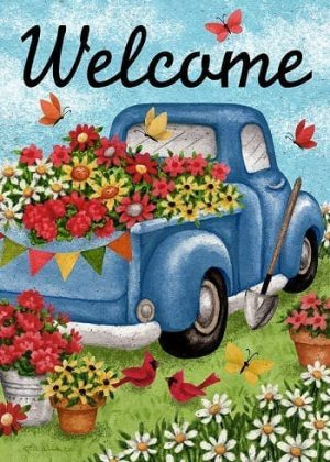Flower Truck Flag | Welcome Flags | Floral Flags | Double Sided Flags