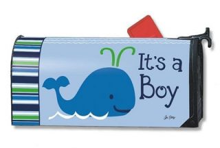 Whales - It's a Boy Mailbox Cover   Mailwraps   Garden House Flags