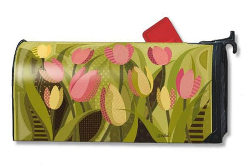 Tulips on Green Mailbox Cover | Mailwraps | Garden House Flags