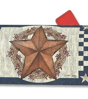 Blue Barn Star Mailbox Cover | Decorative Mailwrap | Garden House Flags