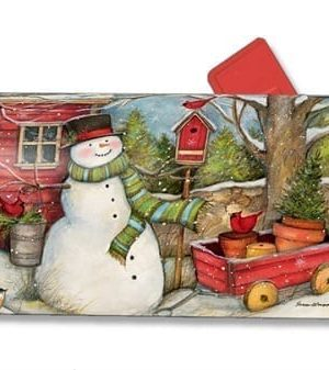 Red Barn Snowman Mailbox Cover | Mailwraps | Christmas Mailbox Cover