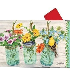 Goldfinch on Jar Mailbox Cover   Decorative Mailwraps   Mailbox Covers