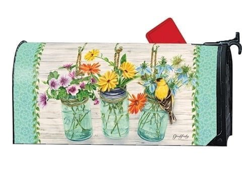 Goldfinch on Jar Mailbox Cover | Decorative Mailwrap | Garden House Flag