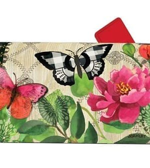 Butterflies in Check Mailbox Cover | Mailwraps | Garden House Flags