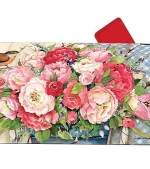 Bucket Full of Peonies Mailbox Cover | Mailwraps | Garden House Flags