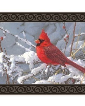 Cardinal in Snow Doormat | Doormats | MatMates | Decorative Doormats