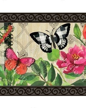 Butterflies in Check Doormat | Doormats | MatMates | Decorative Doormats