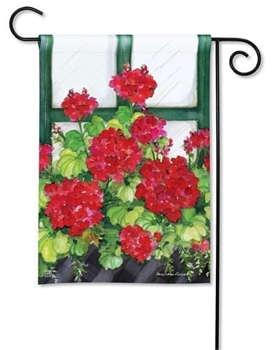 Window Box Geraniums Garden Flag