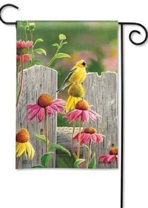 Goldfinches and Coneflowers Flag | Garden Flags | Garden House Flags