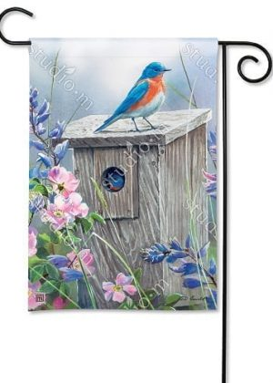Bluebird Lookout Garden Flag | Bird Flags | Spring Flags | Floral Flags