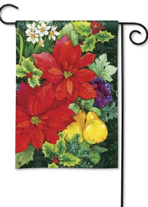 Poinsettia Fruit Garden Flag | Christmas Flags | Yard Flags | Holiday Flags