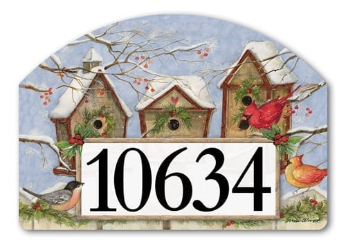 Christmas Birdhouse Yard Sign | Address Plaques | Garden House Flags