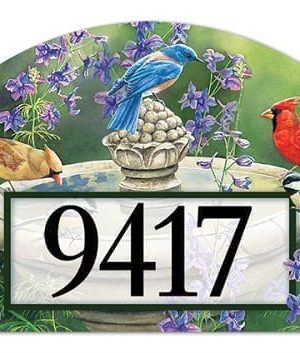 Birdbath Gathering Yard Sign | Address Plaques | Garden House Flags