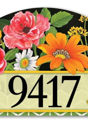 Fancy Floral Yard Sign | Magnetic Address Plaques | Garden House Flags