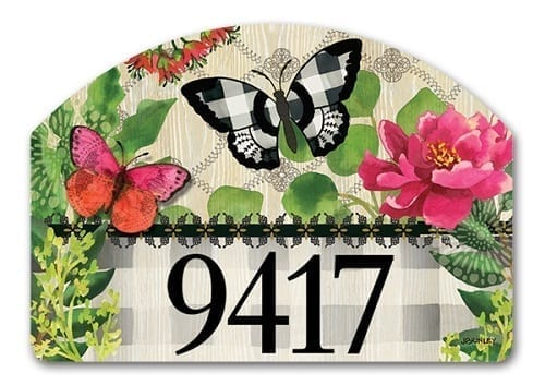 Butterflies in Check Yard Sign | Address Plaques | Garden House Flags