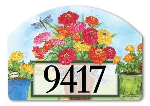 Marigolds and Zinnias Yard Sign | Address Plaques | Garden House Flags