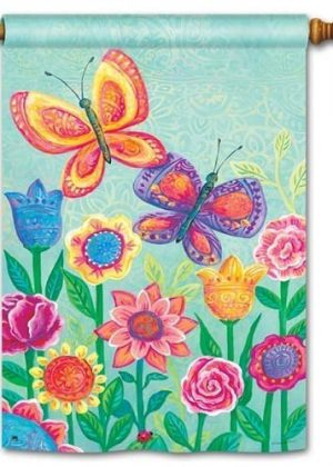 Butterfly Garden House Flag | Floral Flags | Spring Flags | Yard Flags