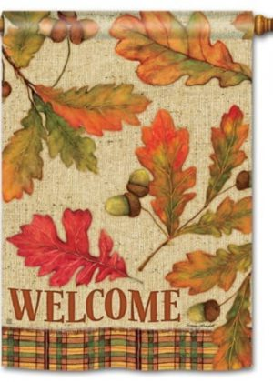 Burlap Leaves House Flag | Fall Flags | Floral Flags | Welcome Flags