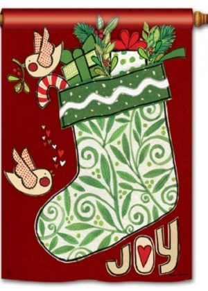 Joy Stocking House Flag | Christmas Flags | Holiday Flags | Yard Flags
