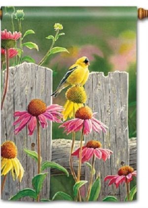 Goldfinches and Coneflowers House Flag | Floral Flags | Bird Flags