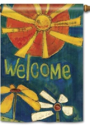 Sunny Welcome Flag | House Flag | Decorative Flag | Garden House Flags