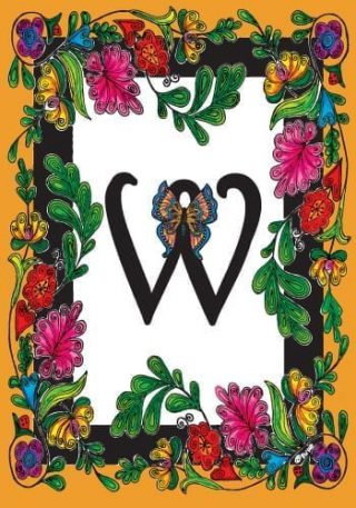 Butterfly Monogram-W Flag | Monogram Flags | Spring Flags | Yard Flags