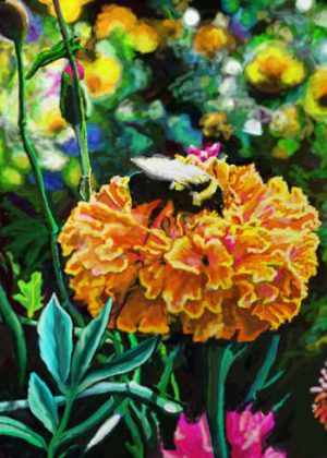 Marigold and Bee Flag | Floral Flags | Yard Flags | Summer Flags