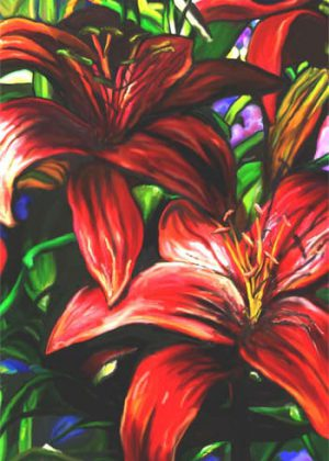 Crimson Lilies Flag | House Flags | Garden Flags | Garden House Flags