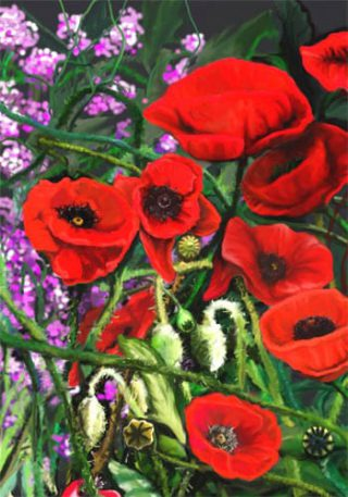 Red Poppies Flag | House Flag | Garden Flag | Flag | Garden House Flags