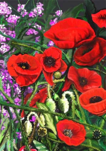 Red Poppies Flag | Decorative House Flags | Garden Flags | Garden House Flags