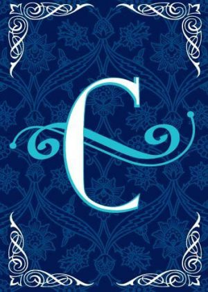 Blue Teal Monogram-C Flag | Monogram Flags | Winter Flags | Yard Flags