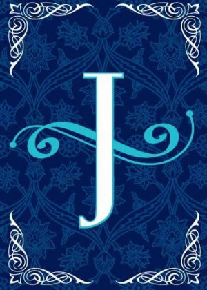 Blue Teal Monogram-J Flag | Monogram Flags | Winter Flags | Yard Flags