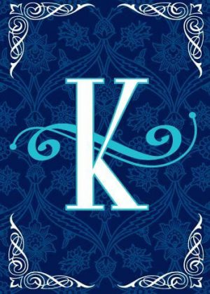 Blue Teal Monogram-K Flag | Monogram Flags | Winter Flags | Yard Flags