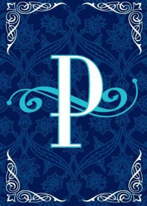 Blue Teal Monogram-P Flag | Monogram Flags | Winter Flags | Yard Flags